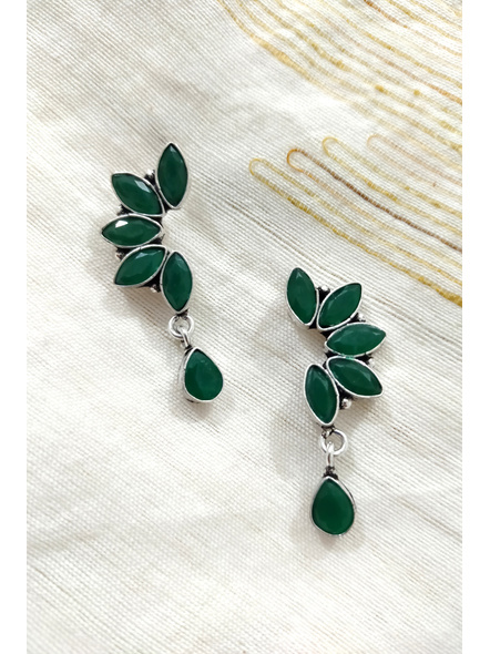 Handcrafted German Silver Green Marquise stone inlaid Designer Stud Dangler with Drop Stone-2