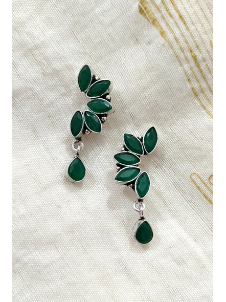 Handcrafted German Silver Green Marquise stone inlaid Designer Stud Dangler with Drop Stone-1