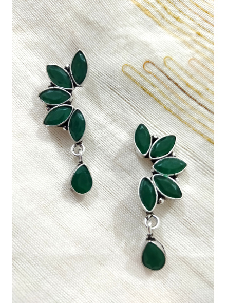 Handcrafted German Silver Green Marquise stone inlaid Designer Stud Dangler with Drop Stone-3