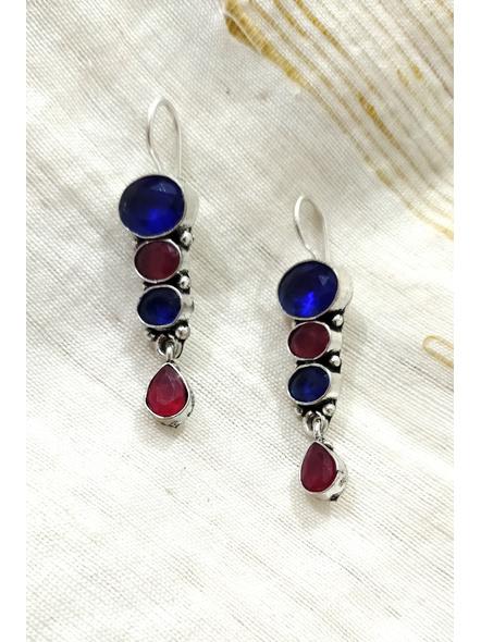 Handcrafted Designer Blue Maroon Bead Earring-1
