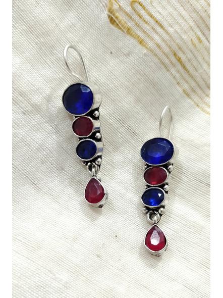 Handcrafted Designer Blue Maroon Bead Earring-2