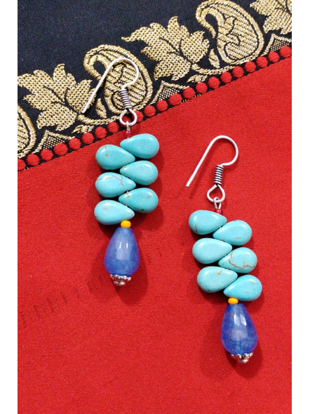 Handcrafted Designer Semi Precious Blue Onyx Drop Earring with Turquoise Drops and Yellow Red Seed Bead-Turquoise Blue-Turquoise-Adult-Female-6.5cm-1