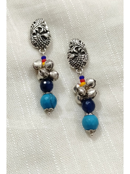 Handcrafted Designer German Silver peacock stud Dangler with semi precious Turquoise Onyx and yellow red Blue seed bead-Silver-German Silver-Adult-Female-6cm-1