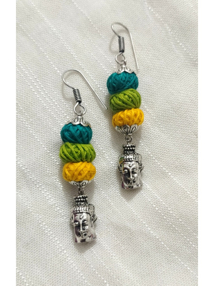 Handmade Designer German Silver Buddha Face Dangler Earring with Yellow Green and Teal Thread Bead-LAAER271