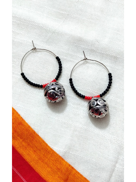 Handcrafted Pretty Red Black Seed bead  Bali with Designer round German Silver Ball-LAAER272