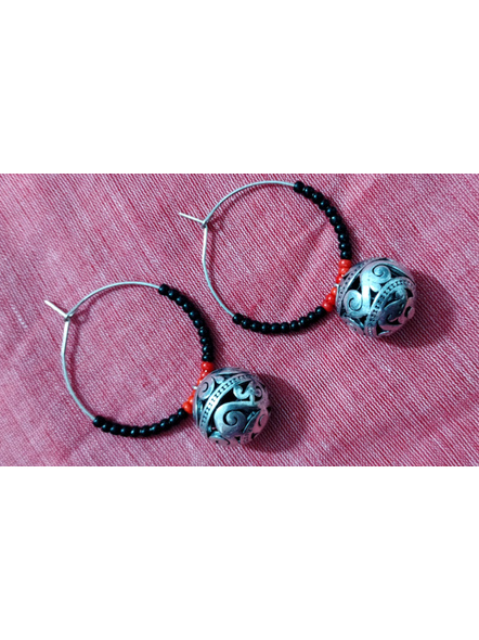 Handcrafted Pretty Red Black Seed bead  Bali with Designer round German Silver Ball-2