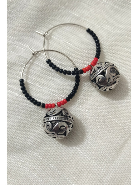 Handcrafted Pretty Red Black Seed bead  Bali with Designer round German Silver Ball-1