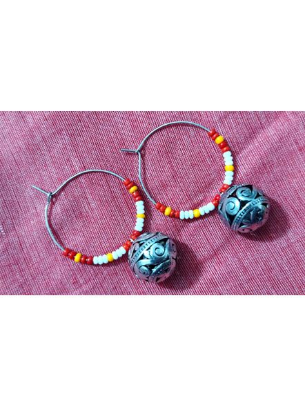 Handcrafted Pretty white Red and yellow seed bead Bali with Round German Silver Ball-2