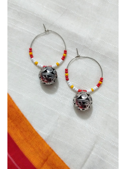 Handcrafted Pretty white Red and yellow seed bead Bali with Round German Silver Ball-LAAER273