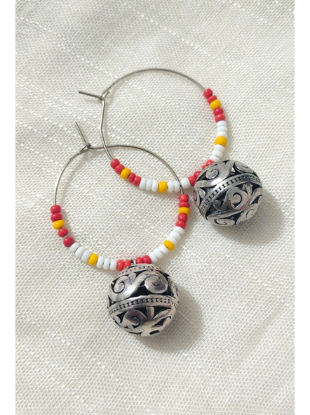 Handcrafted Pretty white Red and yellow seed bead Bali with Round German Silver Ball-1