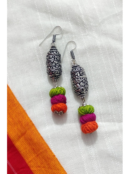 Handcrafted Designer German Silver Chitai Work Bead Dangler Earring with Green pink and Orange Thread Ball-LAAER274
