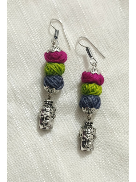 Handcrafted Designer German Silver Buddha Face Dangler Earring with Pink Green and Grey thread Bead-LAAER275