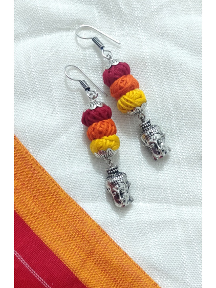 Handcrafted Designer German Silver Buddha Face Dangler Earring with Yellow Orange and Red thread Bead-LAAER276