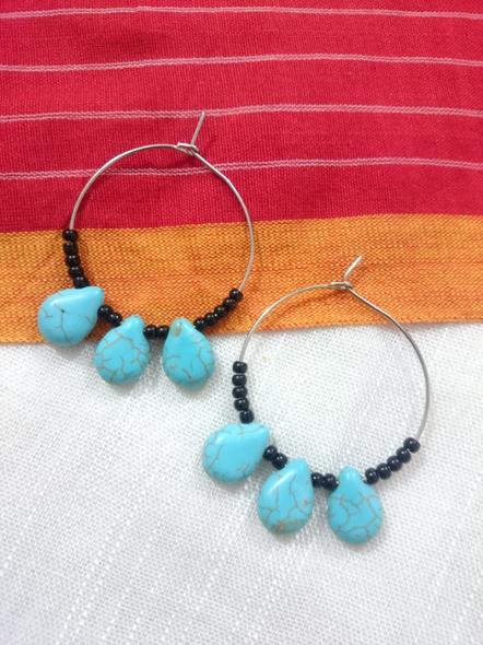 Handmade Pretty Triplet Turquoise Drop Bali with Black Seed Bead-1