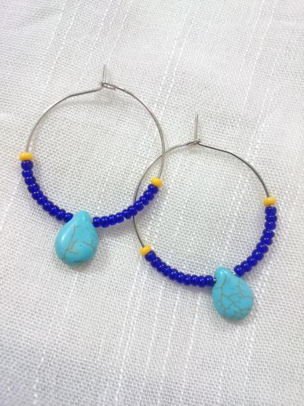Handmade Pretty Turquoise Drop Bali with Blue Seed Bead-LAAER279