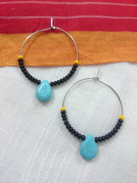 Handmade Pretty Turquoise Drop Bali With Yellow and Black Seed Bead-LAAER281