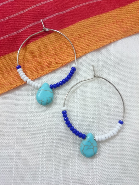 Handcrafted Pretty Turquoise Drop Bali with White and Blue Seed Bead-1