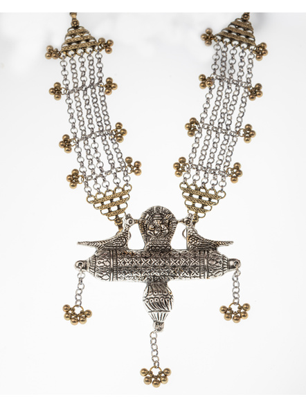 Handcrafted Designer Dual Tone Ganesha Chain neckpiece with adjustable Black Dori-LAANSNL007