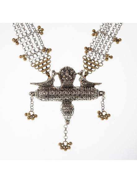 Handcrafted Designer Dual Tone Ganesha Chain neckpiece with adjustable Black Dori-1
