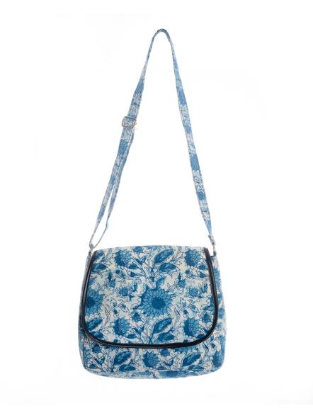Handcrafted Rectungular Stylish Indigo Floral Sling Bag-LAARSSB003