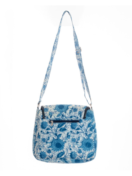 Handcrafted Rectungular Stylish Indigo Floral Sling Bag-1