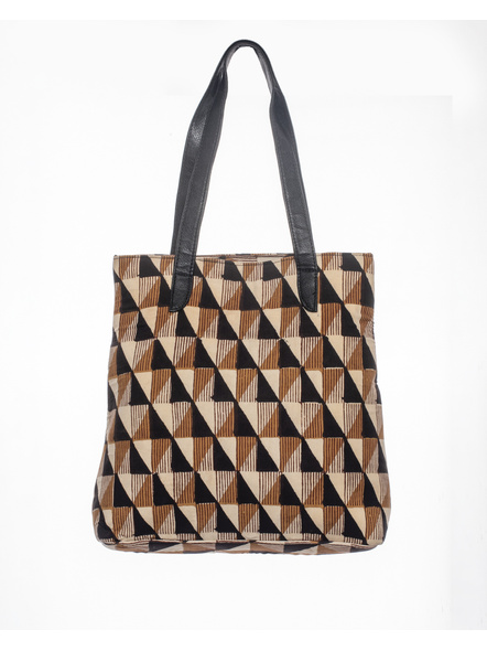 Handcrafted Stylish Triangular Block Tote Bag-LAASTB001