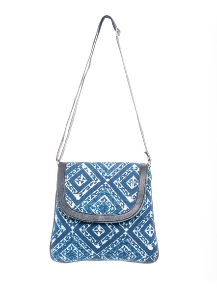 Handcrafted Stylish Rectungular Indigo Blue Sling Bag-LAASRSB001