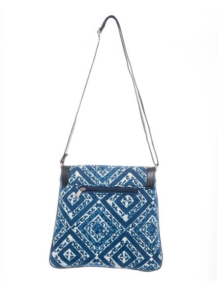Handcrafted Stylish Rectungular Indigo Blue Sling Bag-2