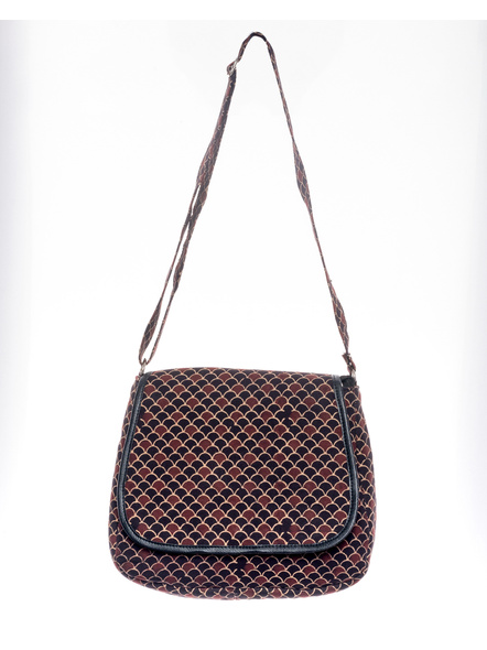 Handcrafted Rectungular Stylish Fish Scale Ajrakh Sling Bag-LAARSSB002