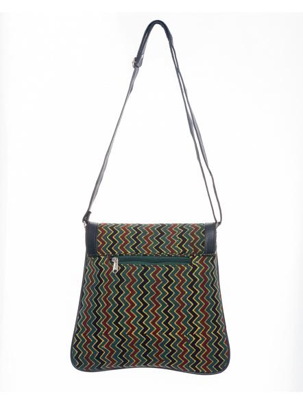 Handcrafted Ajrakh Moss Green Wavey Pattern Sling Bag-1