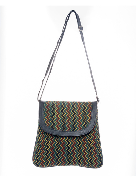 Handcrafted Ajrakh Moss Green Wavey Pattern Sling Bag-LAASRSB003