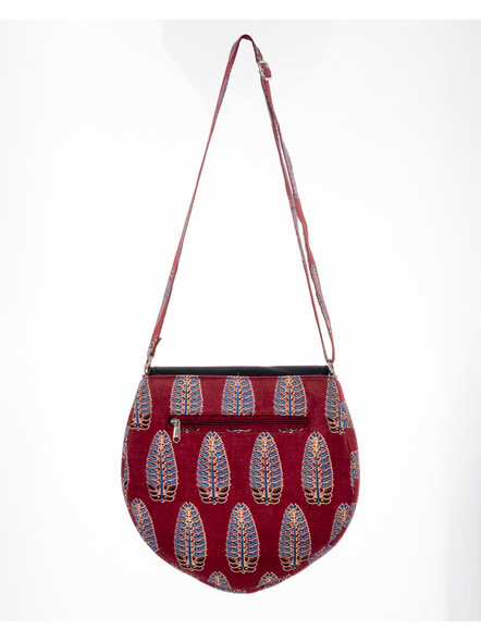 Handcrafted Stylish Half Circle Leaf Print Sling Bag-1