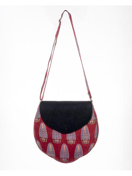 Handcrafted Stylish Half Circle Leaf Print Sling Bag-LAASHCSB002