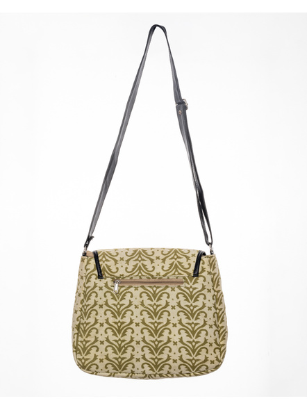Handcrafted Rectungular Stylish Asparagus Green Sling Bag-LAARSSB004