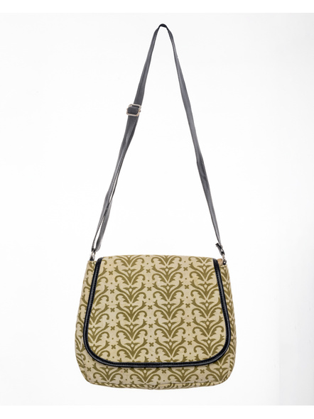 Handcrafted Rectungular Stylish Asparagus Green Sling Bag-1