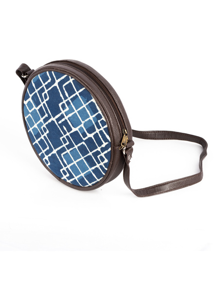 Handcrafted Circular Stylish Geomatrical Indigo Blue Sling Bag-4