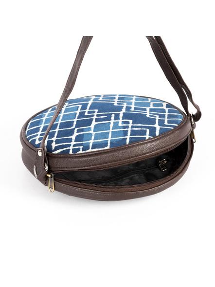 Handcrafted Circular Stylish Geomatrical Indigo Blue Sling Bag-3