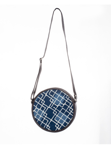 Handcrafted Circular Stylish Geomatrical Indigo Blue Sling Bag-1