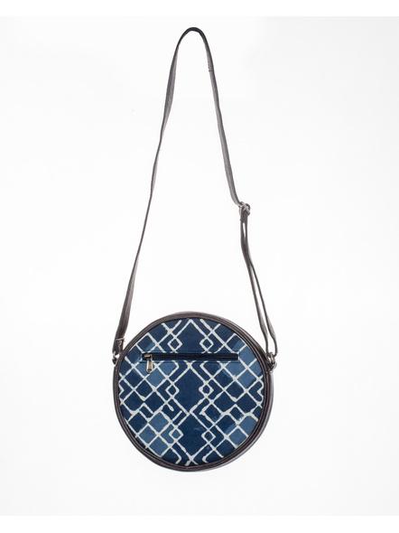 Handcrafted Circular Stylish Geomatrical Indigo Blue Sling Bag-2