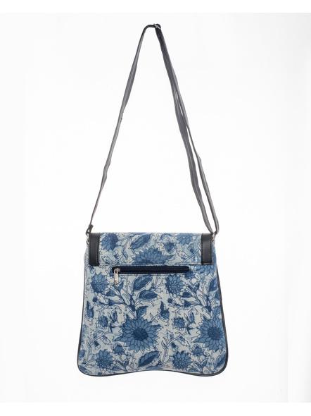 Handcrafted Stylish Rectungular Indigo Blue Floral Sling Bag-1