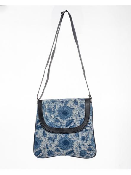 Handcrafted Stylish Rectungular Indigo Blue Floral Sling Bag-LAASRSB002