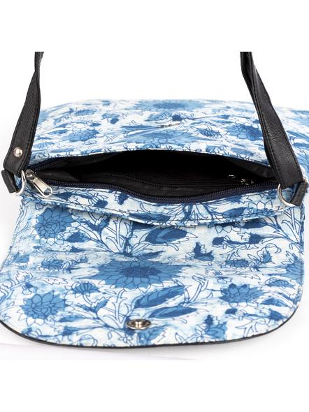 Handcrafted Stylish Rectungular Indigo Blue Floral Sling Bag-2
