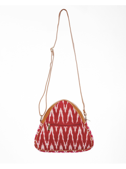 Handcrafted Triangle Red Ikkat Sling Bag-2