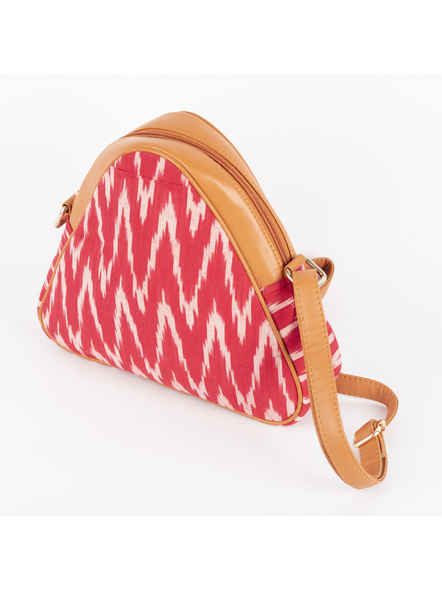 Handcrafted Triangle Red Ikkat Sling Bag-3