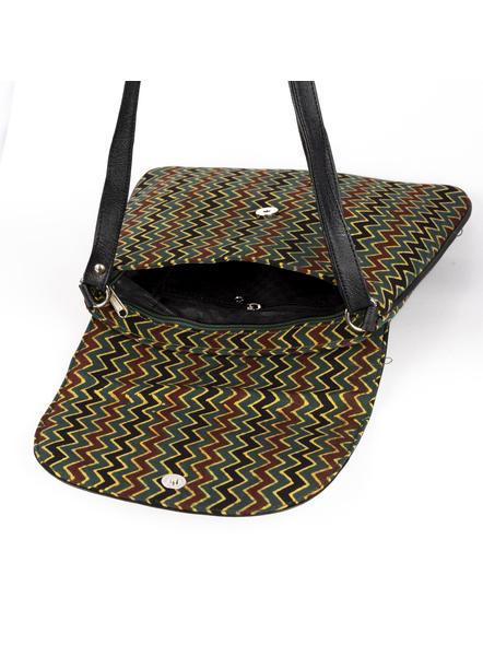 Handcrafted Ajrakh Moss Green Wavey Pattern Sling Bag-3