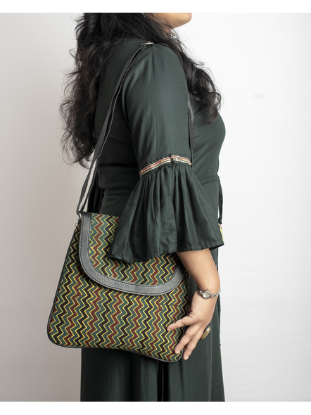 Handcrafted Ajrakh Moss Green Wavey Pattern Sling Bag-2