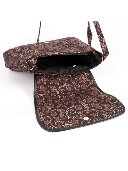 Handcrafted Rectungular Stylish Floral Ajrakh Sling Bag-3