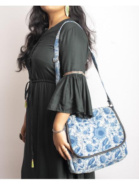 Handcrafted Rectungular Stylish Indigo Floral Sling Bag-2