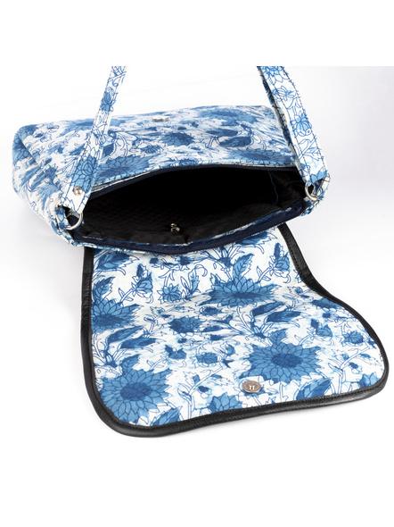 Handcrafted Rectungular Stylish Indigo Floral Sling Bag-3