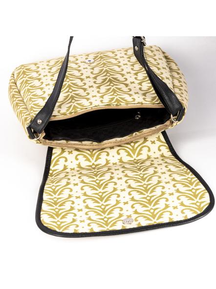 Handcrafted Rectungular Stylish Asparagus Green Sling Bag-3